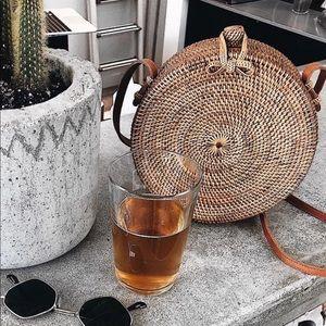 Handbags - Circle straw cross body bag